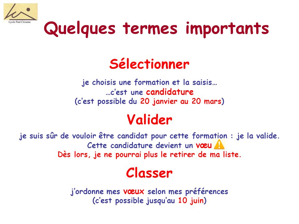 Quelques termes importants