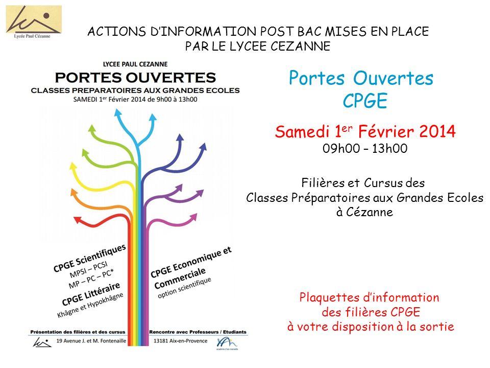 Portes Ouvertes CPGE Samedi 1er Février 2014