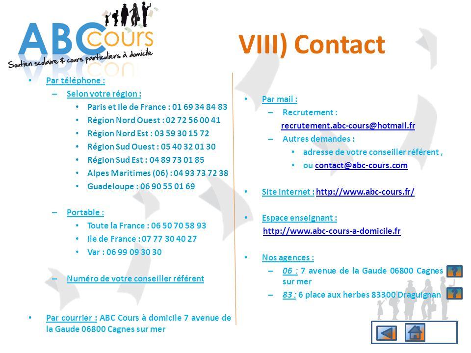 VIII) Contact Par téléphone : Selon votre région :