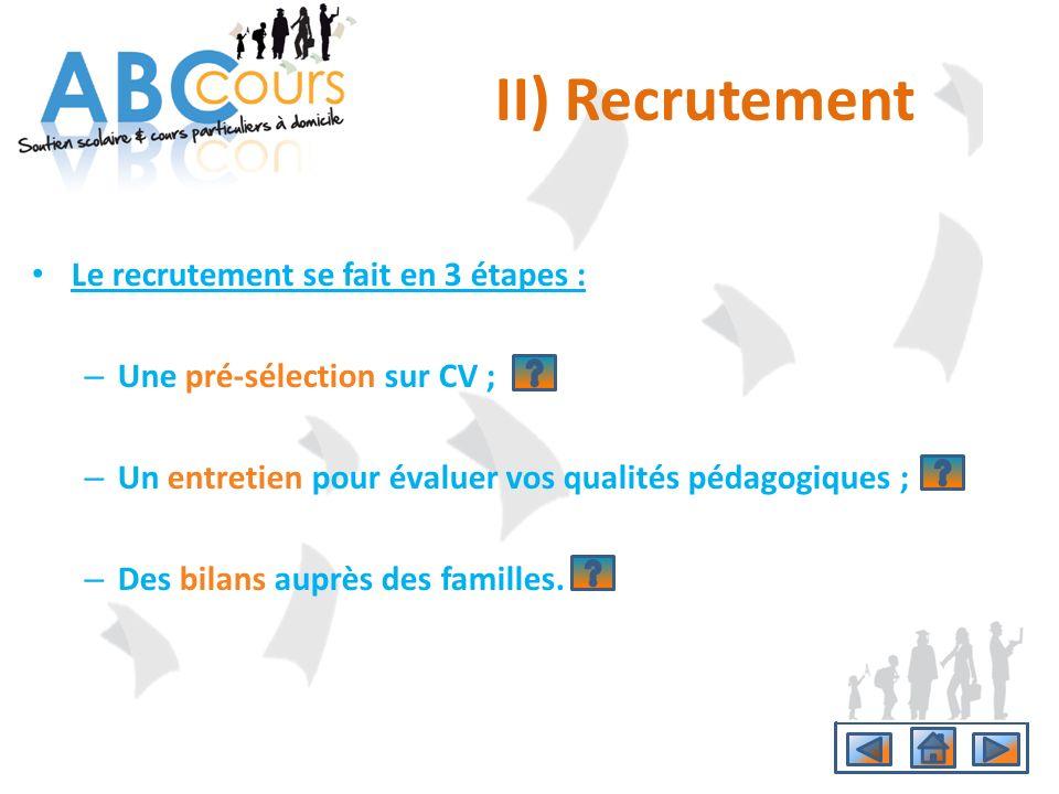 II) Recrutement Le recrutement se fait en 3 étapes :