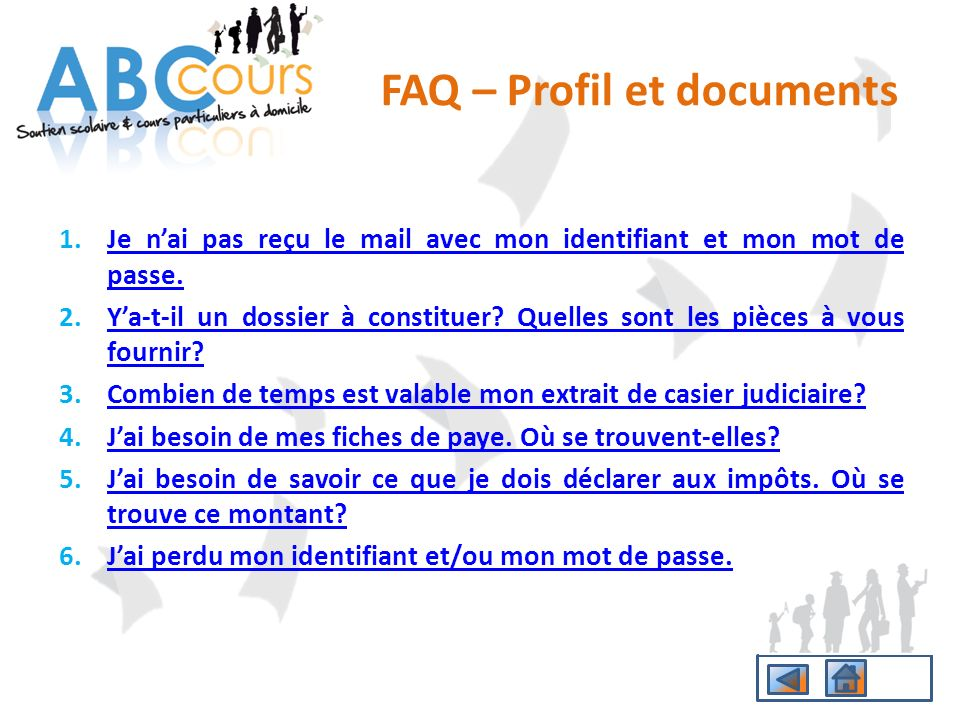 FAQ – Profil et documents
