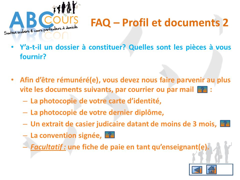 FAQ – Profil et documents 2