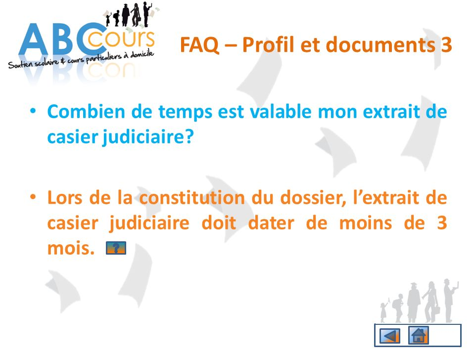 FAQ – Profil et documents 3