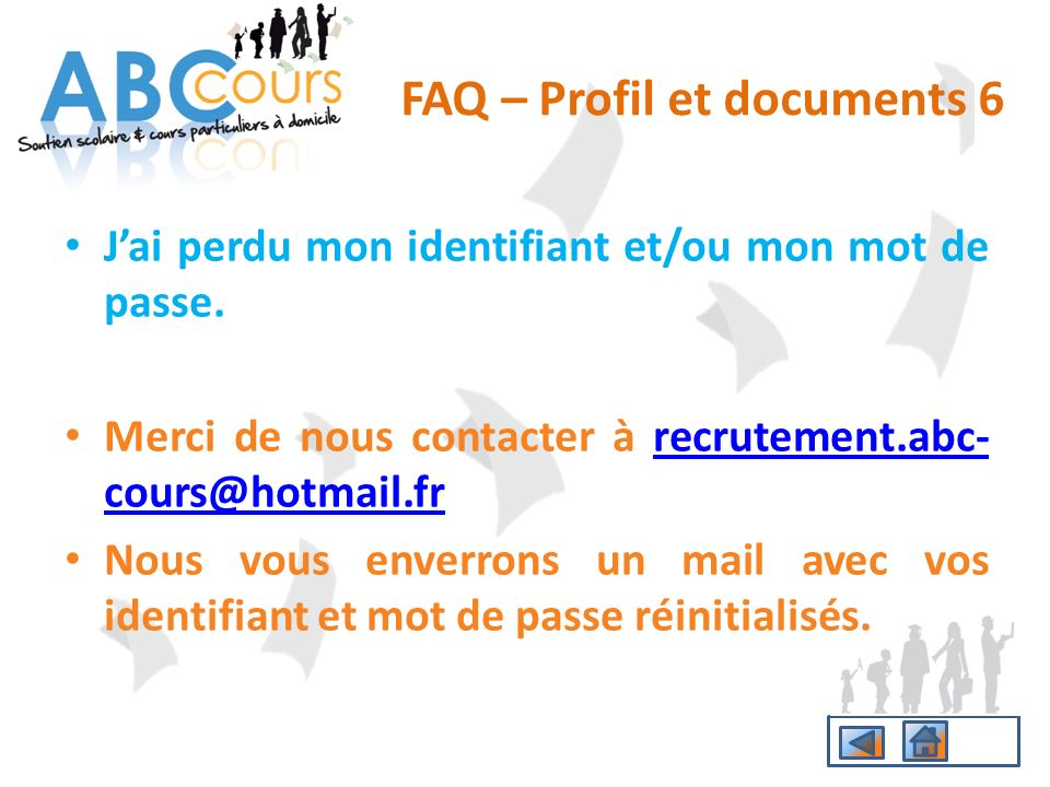 FAQ – Profil et documents 6