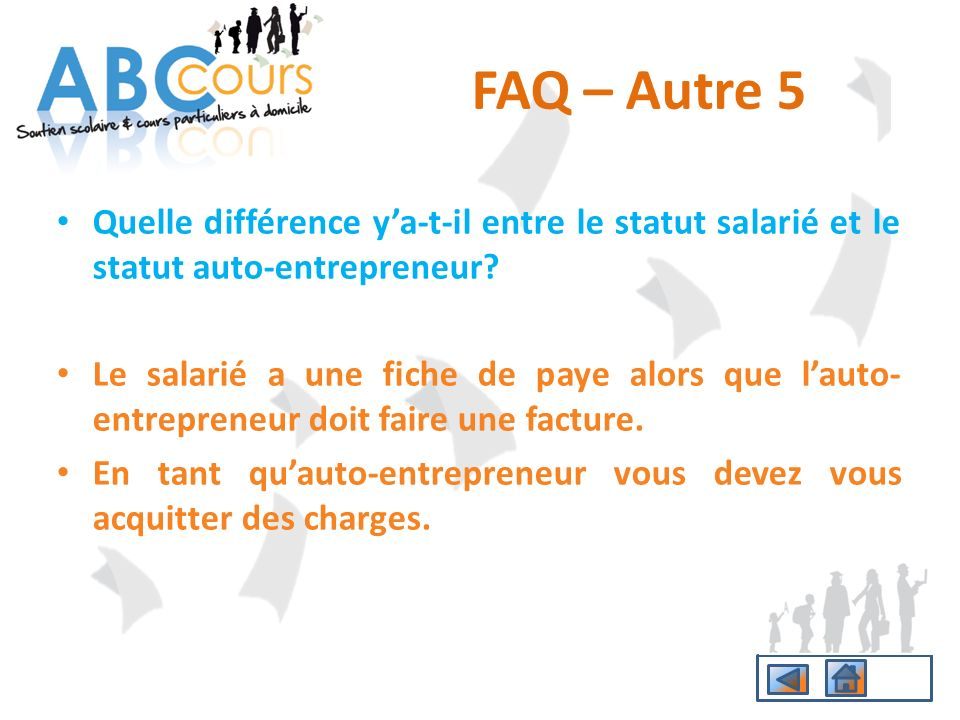 FAQ – Autre 5 Quelle différence y'a-t-il entre le statut salarié et le statut auto-entrepreneur