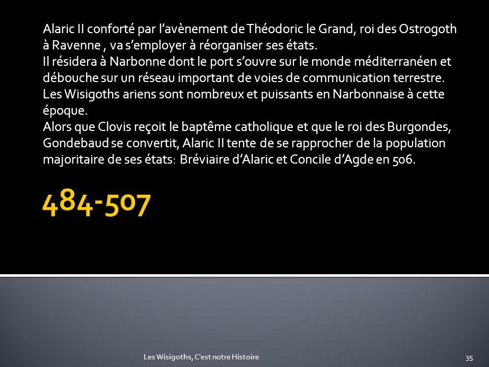 Alaric II conforté par l'avènement de Théodoric le Grand, roi des Ostrogoth à Ravenne , va s'employer à réorganiser ses états.