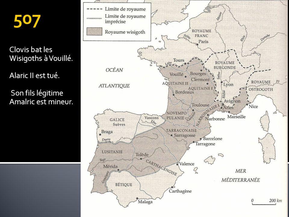 507 Clovis bat les Wisigoths à Vouillé. Alaric II est tué.