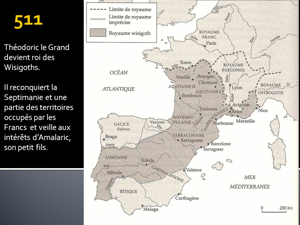 511 Théodoric le Grand devient roi des Wisigoths.