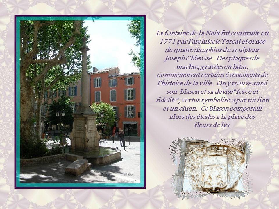 La fontaine de la Noix fut construite en 1771 par l architecte Torcat et ornée de quatre dauphins du sculpteur Joseph Chieusse. Des plaques de marbre, gravées en latin, commémorent certains évènements de l histoire de la ville. On y trouve aussi son blason et sa devise force et fidélité , vertus symbolisées par un lion et un chien. Ce blason comportait alors des étoiles à la place des