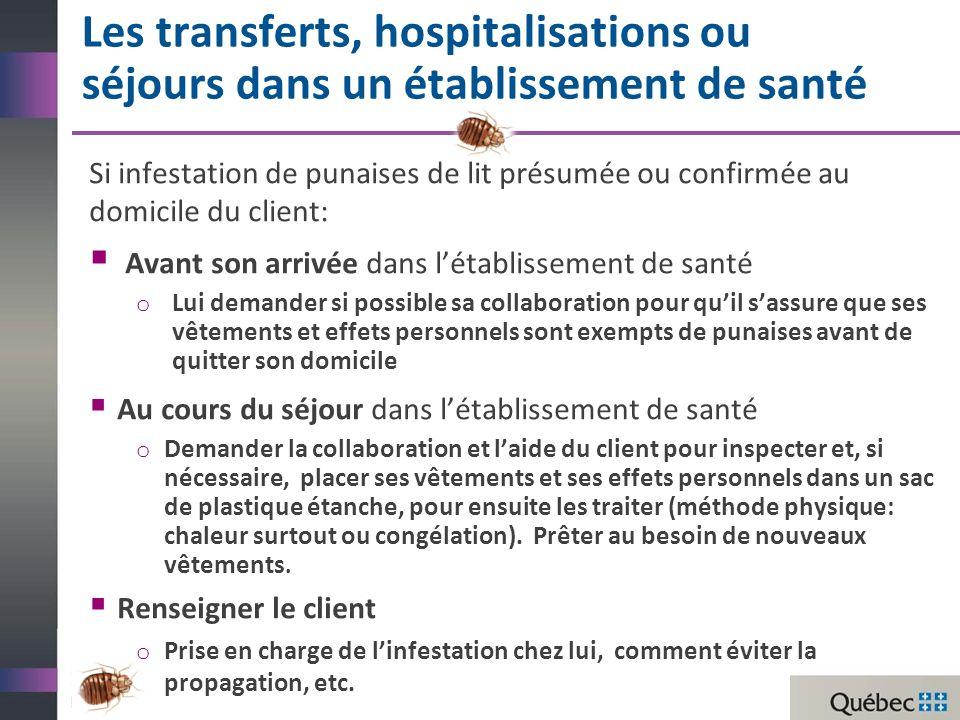 Les transferts, hospitalisations ou séjours dans un établissement de santé