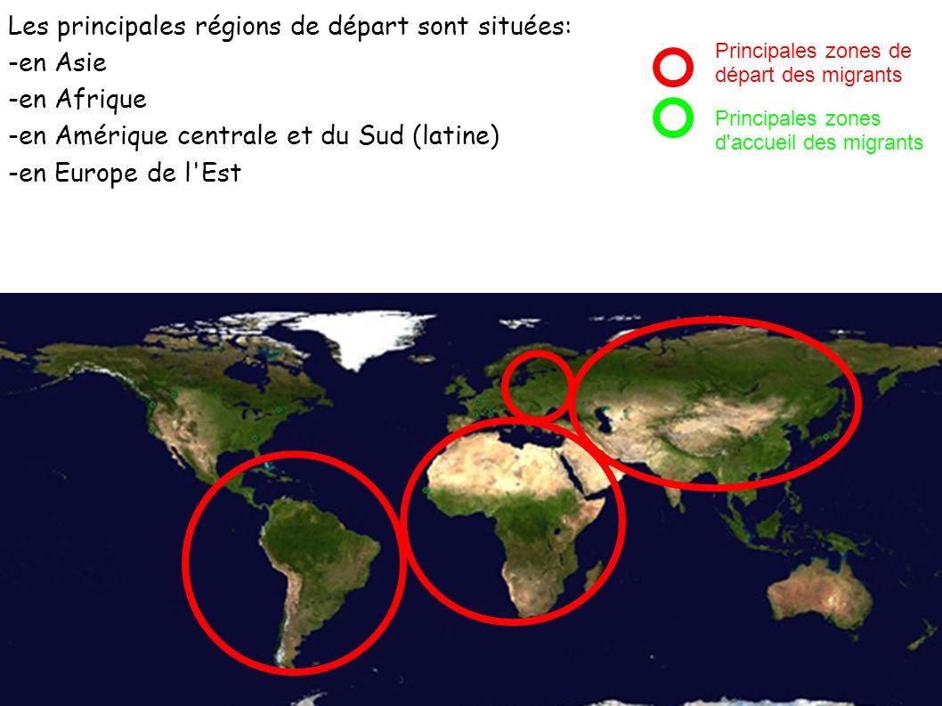 Les principales régions de départ sont situées: -en Asie -en Afrique