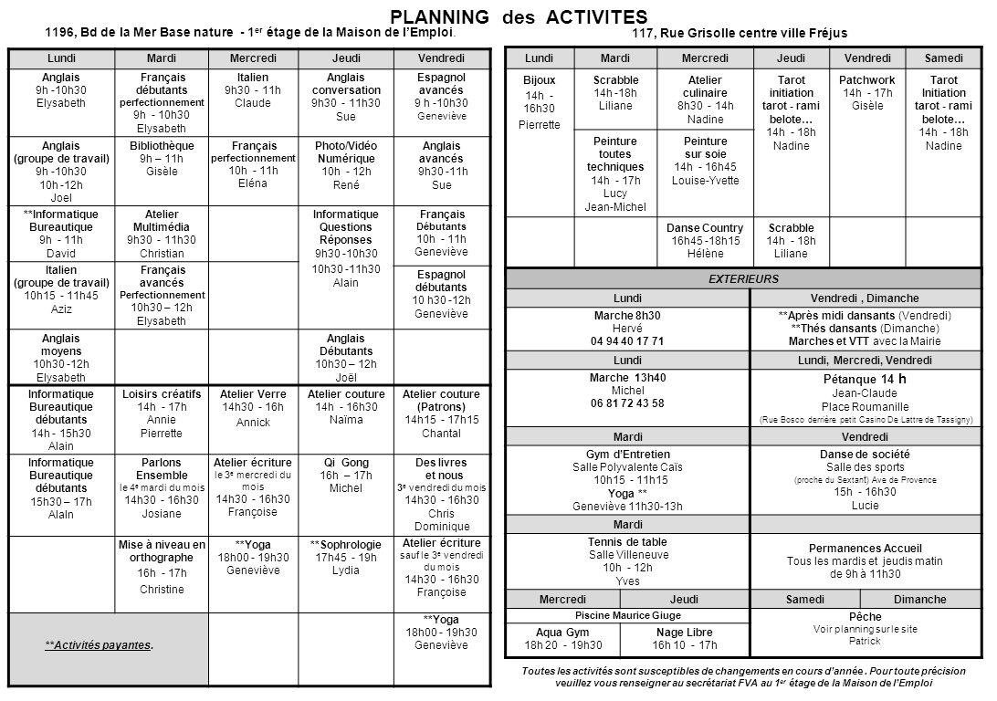PLANNING des ACTIVITES