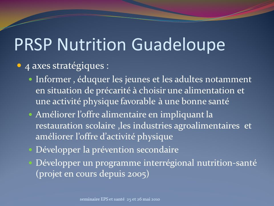 PRSP Nutrition Guadeloupe