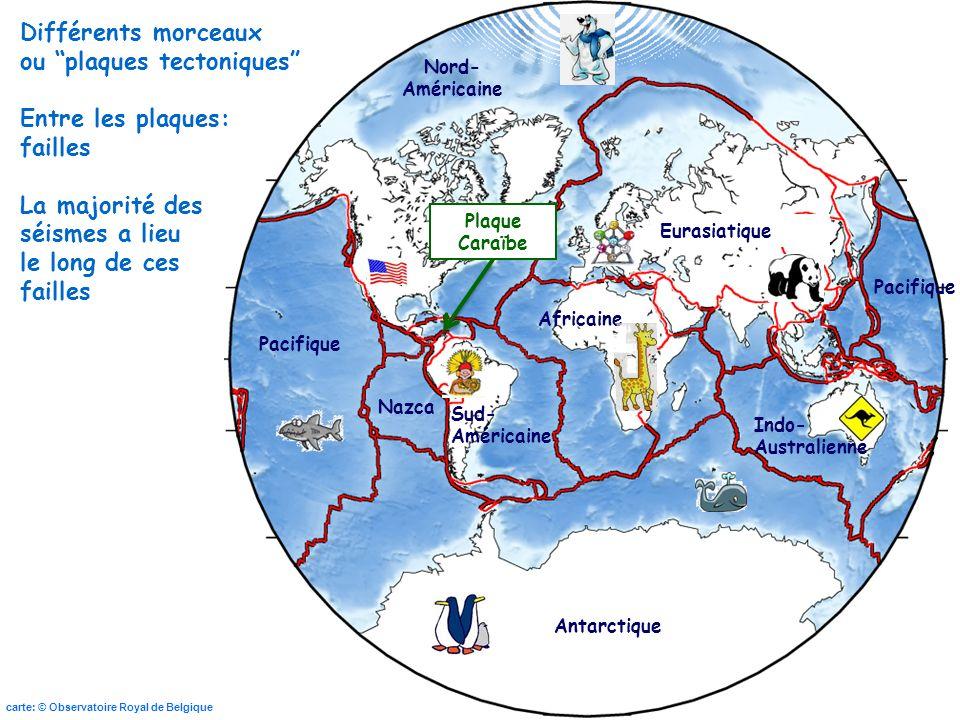 ou plaques tectoniques Entre les plaques: failles La majorité des