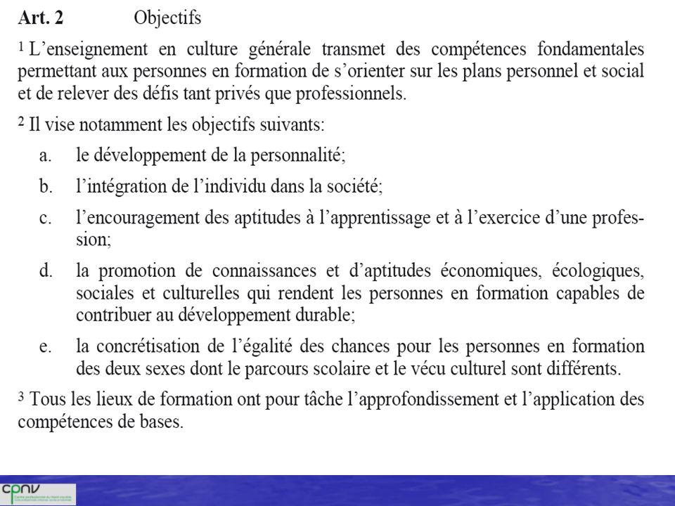 Bases légales OCMCG (Ordonnance concernant les conditions minimales relatives à la culture générale dans la formation professionnelle initiale)