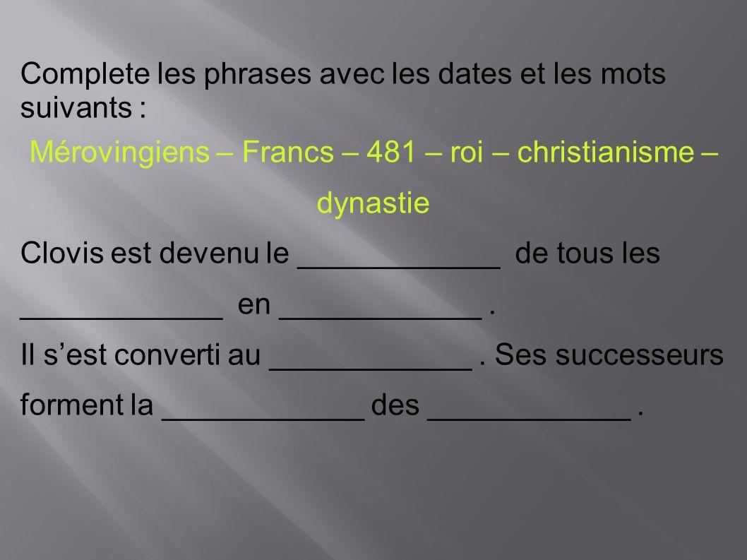 Mérovingiens – Francs – 481 – roi – christianisme – dynastie