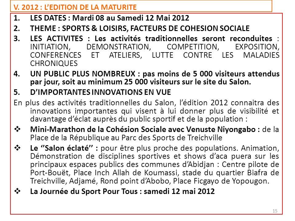 V. 2012 : L'EDITION DE LA MATURITE