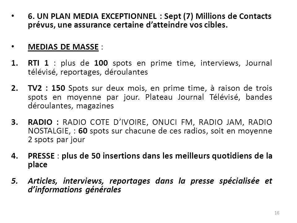 6. UN PLAN MEDIA EXCEPTIONNEL : Sept (7) Millions de Contacts prévus, une assurance certaine d'atteindre vos cibles.