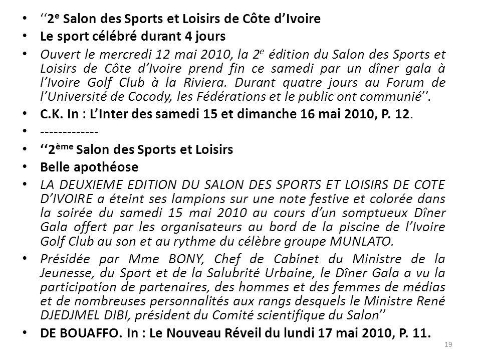 ''2e Salon des Sports et Loisirs de Côte d'Ivoire