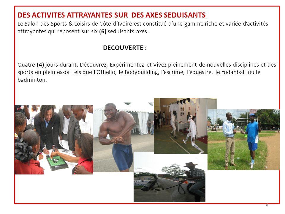 DES ACTIVITES ATTRAYANTES SUR DES AXES SEDUISANTS Le Salon des Sports & Loisirs de Côte d'Ivoire est constitué d'une gamme riche et variée d'activités attrayantes qui reposent sur six (6) séduisants axes.