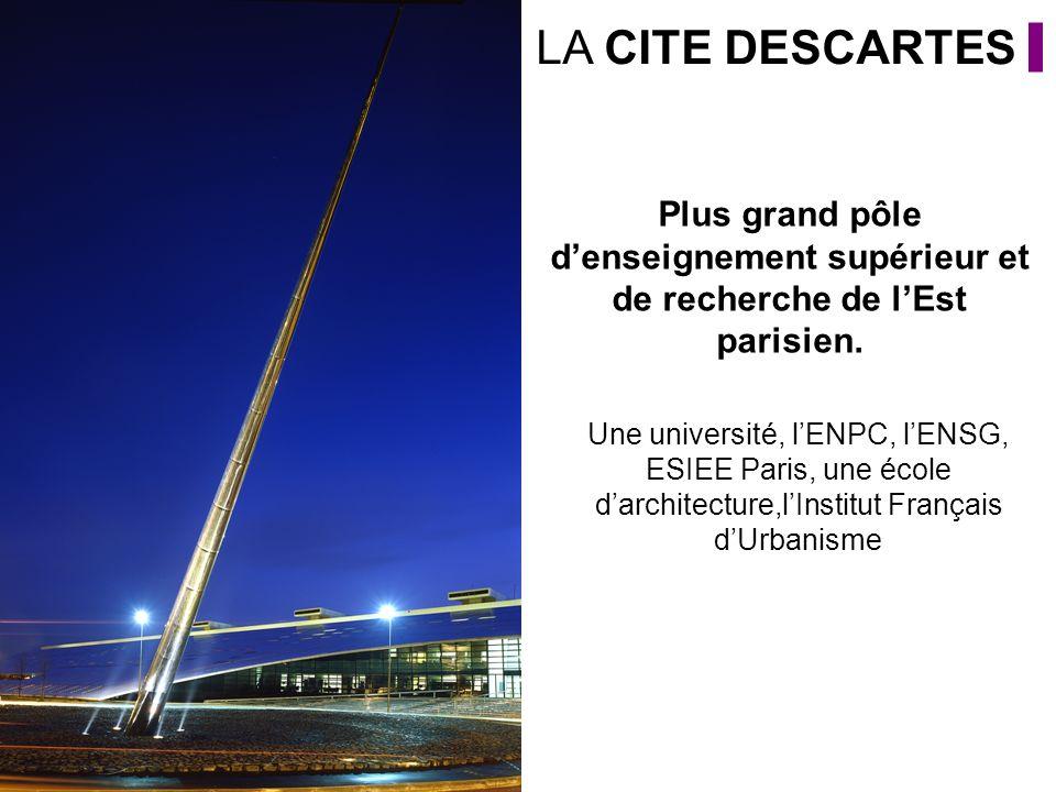 LA CITE DESCARTES Plus grand pôle d'enseignement supérieur et de recherche de l'Est parisien.