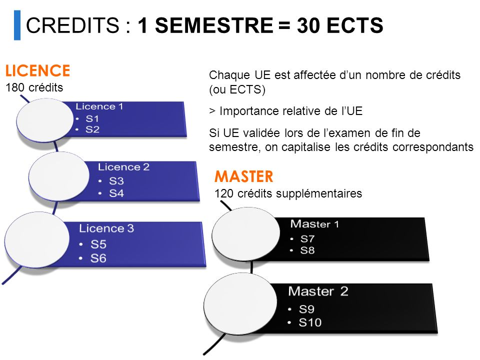 UNIVERSITÉ CREDITS : 1 SEMESTRE = 30 ECTS Master 2 LICENCE Master 1