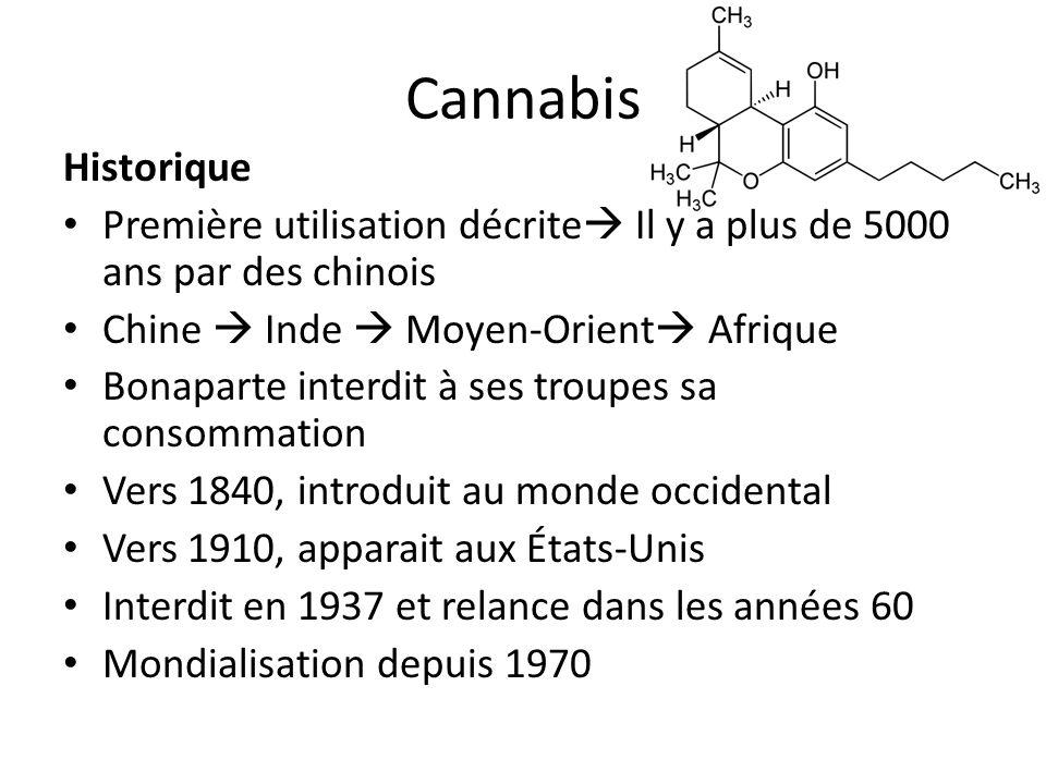 CannabisHistorique. Première utilisation décrite Il y a plus de 5000 ans par des chinois. Chine  Inde  Moyen-Orient Afrique.