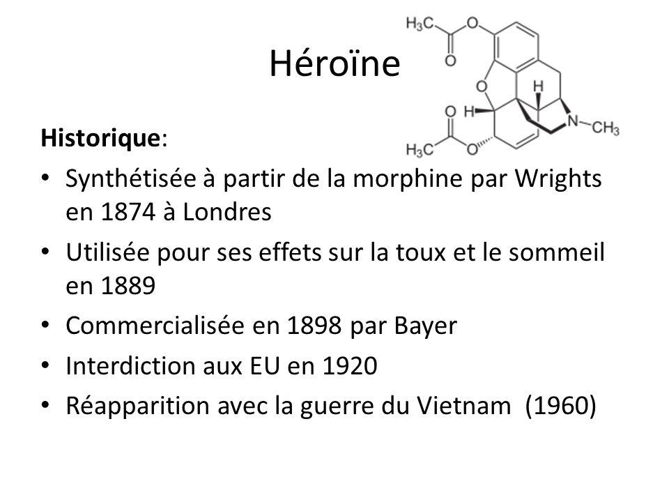 Héroïne Historique: Synthétisée à partir de la morphine par Wrights en 1874 à Londres. Utilisée pour ses effets sur la toux et le sommeil en 1889.