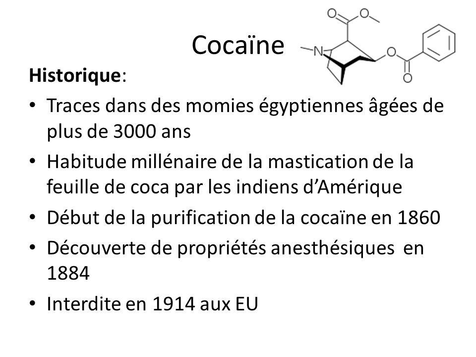 CocaïneHistorique: Traces dans des momies égyptiennes âgées de plus de 3000 ans.
