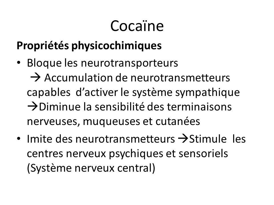 Cocaïne Propriétés physicochimiques