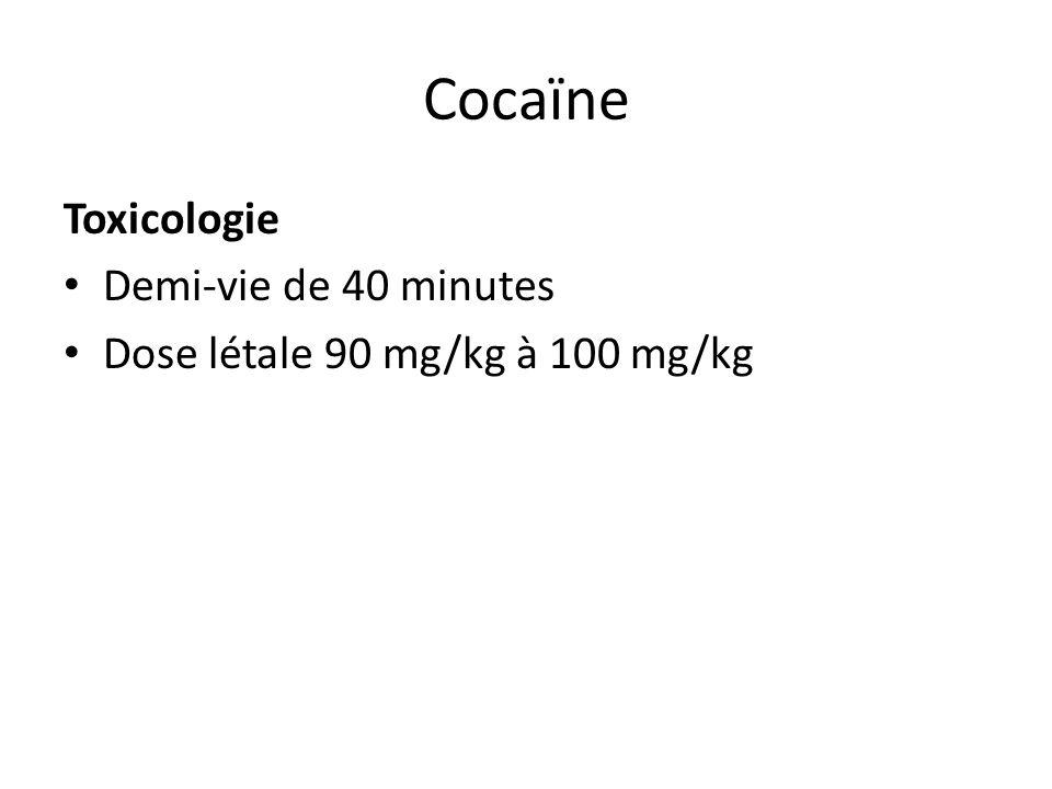 Cocaïne Toxicologie Demi-vie de 40 minutes