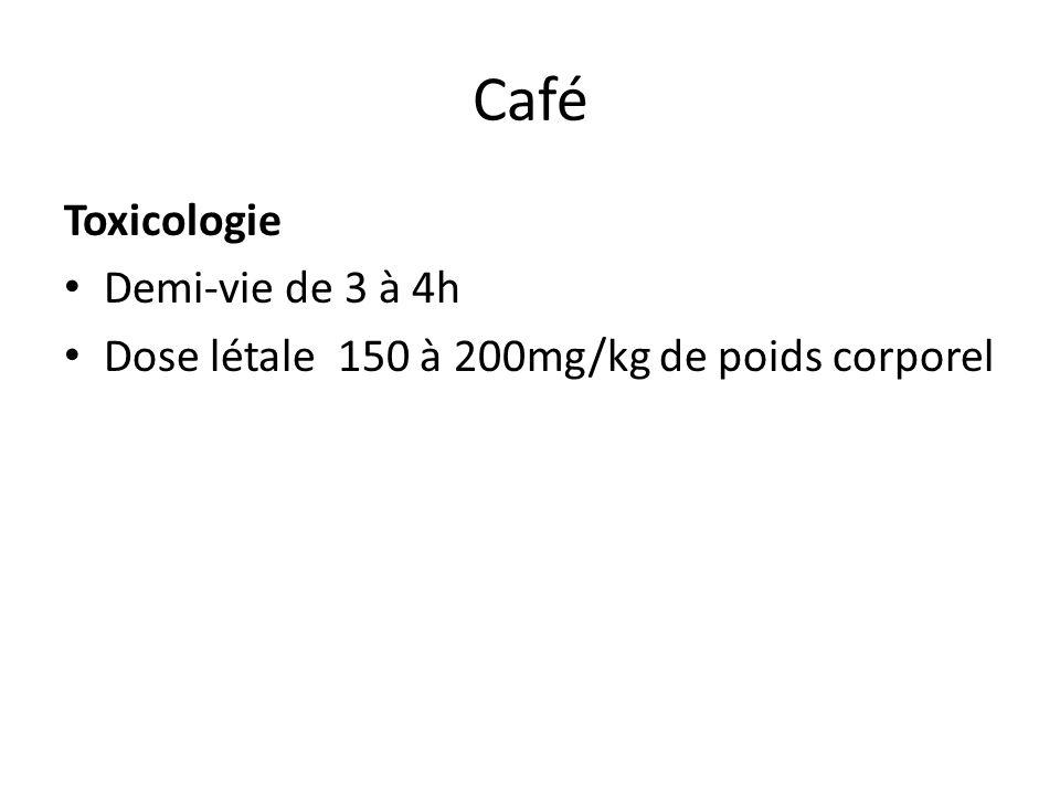 Café Toxicologie Demi-vie de 3 à 4h