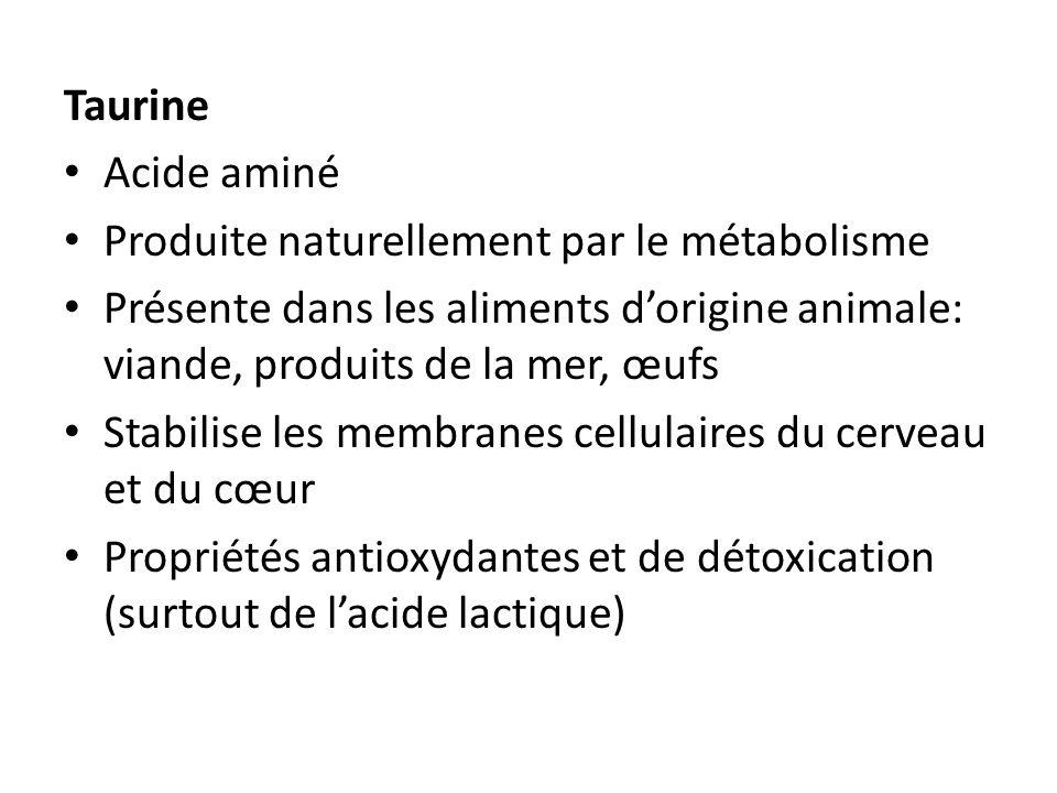 TaurineAcide aminé. Produite naturellement par le métabolisme. Présente dans les aliments d'origine animale: viande, produits de la mer, œufs.