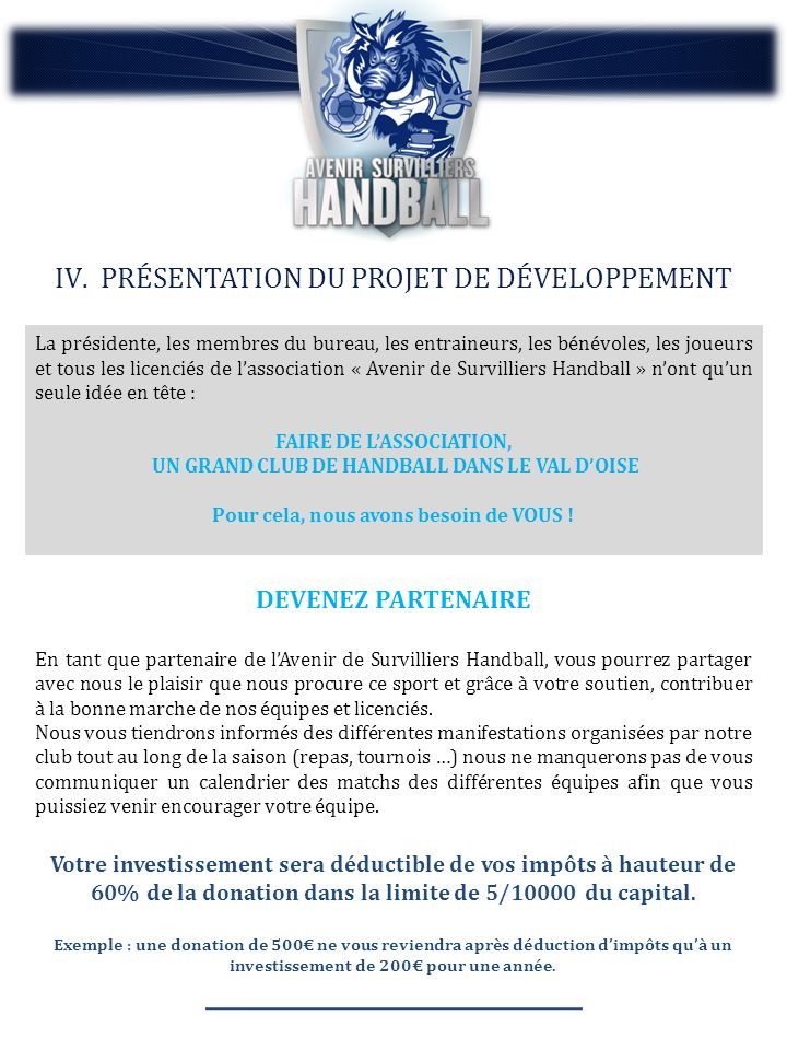 FAIRE DE L'ASSOCIATION, UN GRAND CLUB DE HANDBALL DANS LE VAL D'OISE