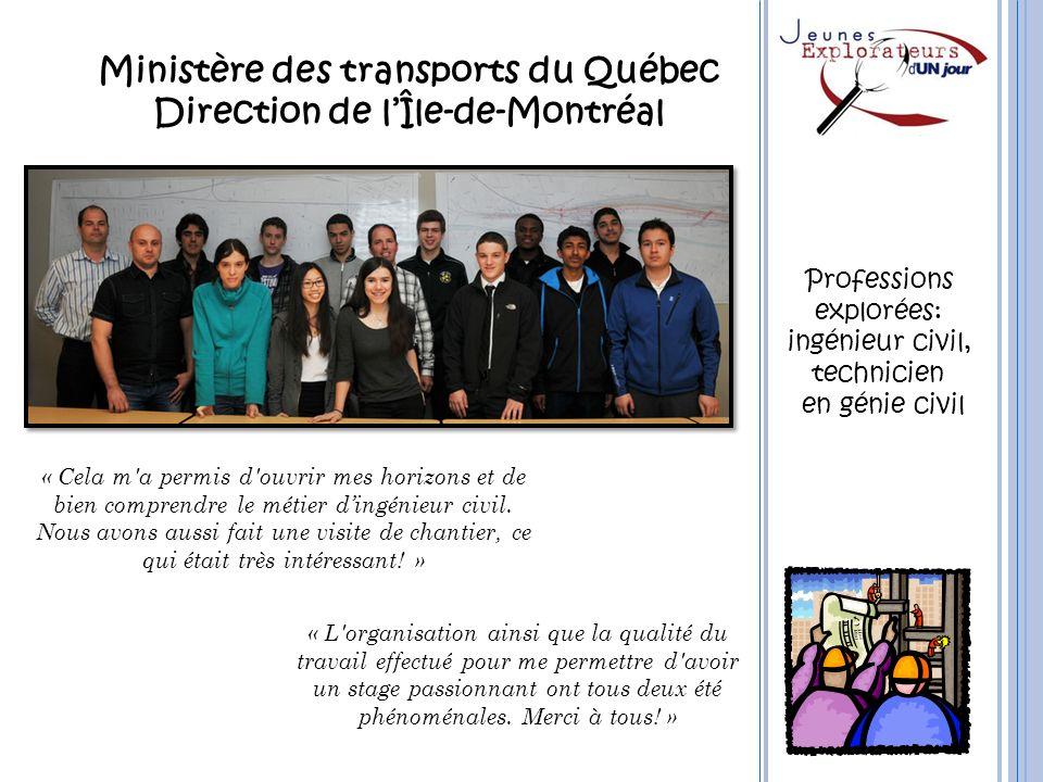 Ministère des transports du Québec Direction de l'Île-de-Montréal