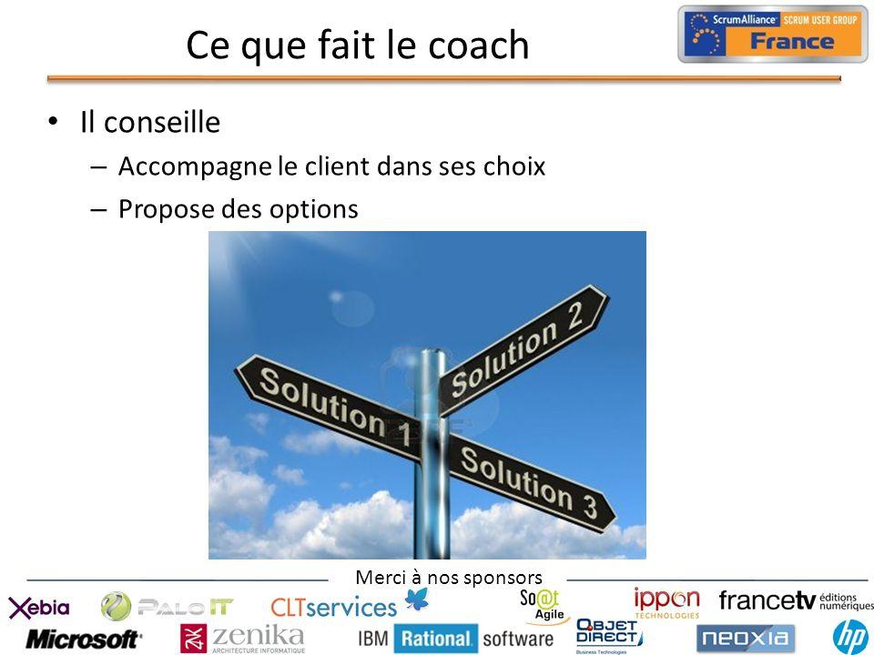Ce que fait le coach Il conseille Accompagne le client dans ses choix