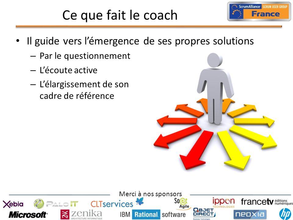 Ce que fait le coach Il guide vers l'émergence de ses propres solutions. Par le questionnement. L'écoute active.