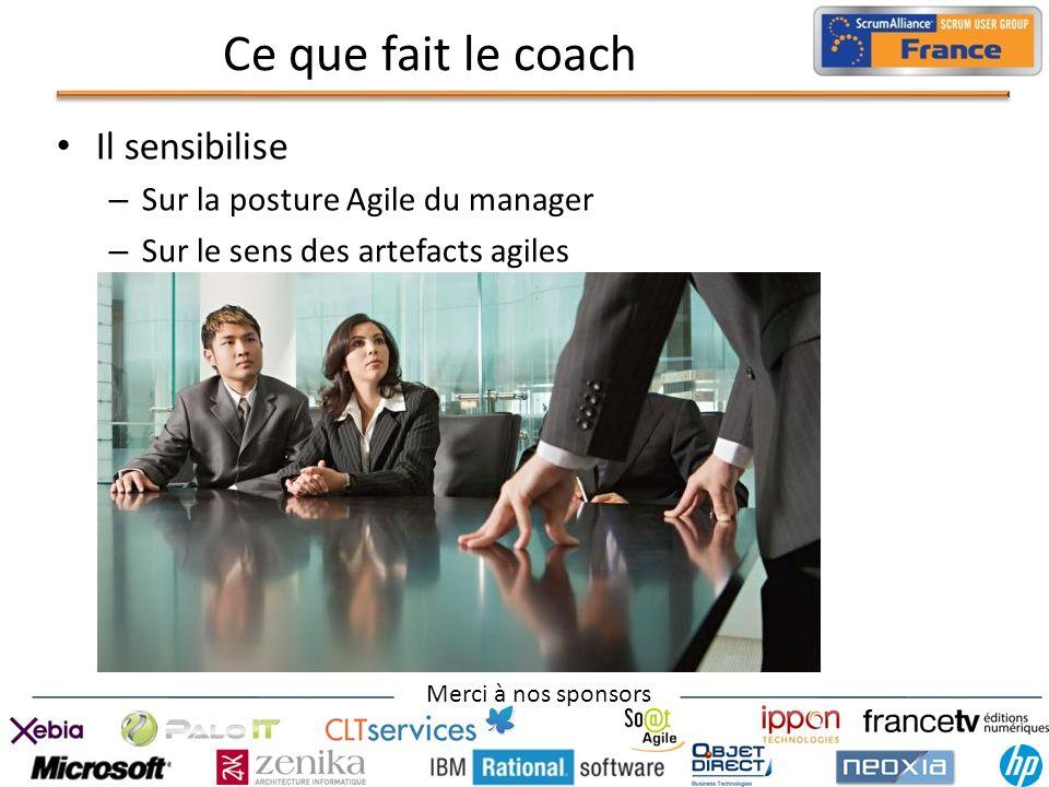 Ce que fait le coach Il sensibilise Sur la posture Agile du manager