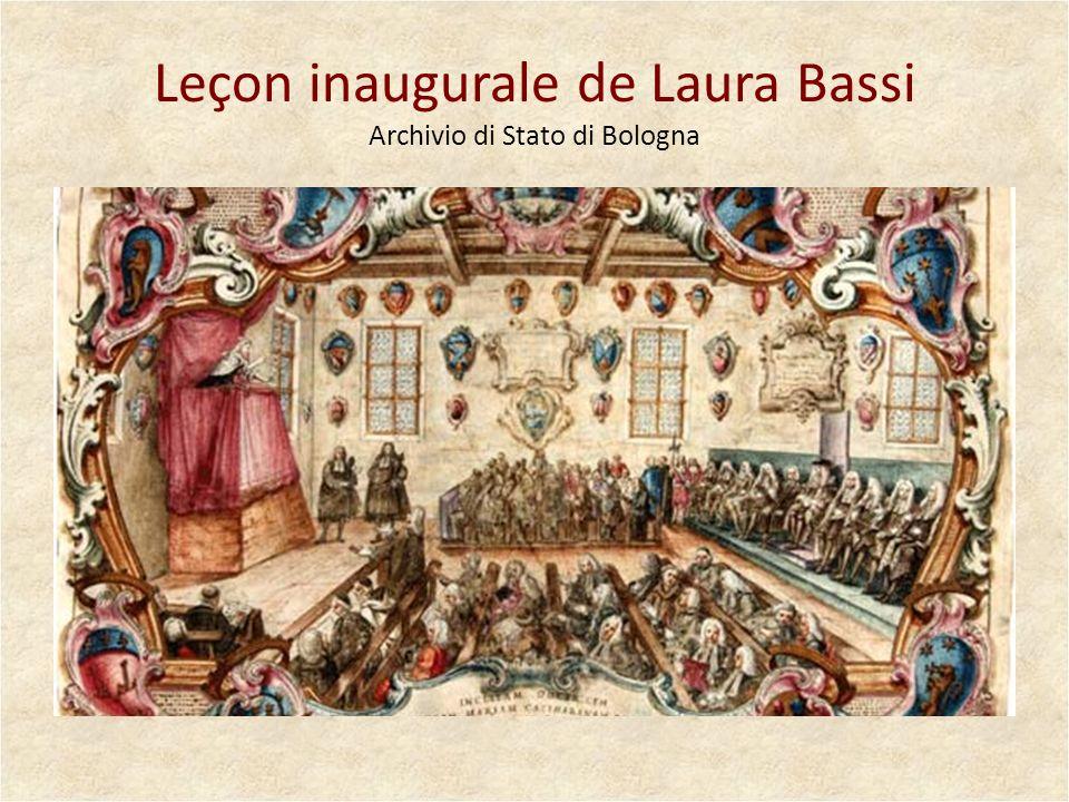 Leçon inaugurale de Laura Bassi Archivio di Stato di Bologna