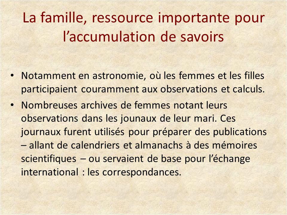 La famille, ressource importante pour l'accumulation de savoirs