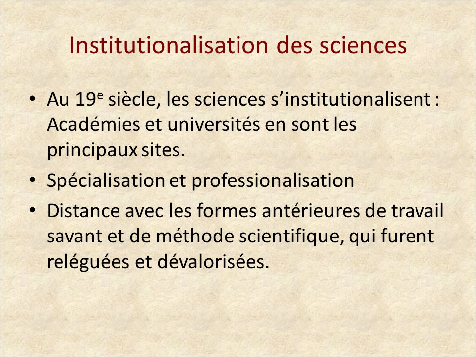 Institutionalisation des sciences