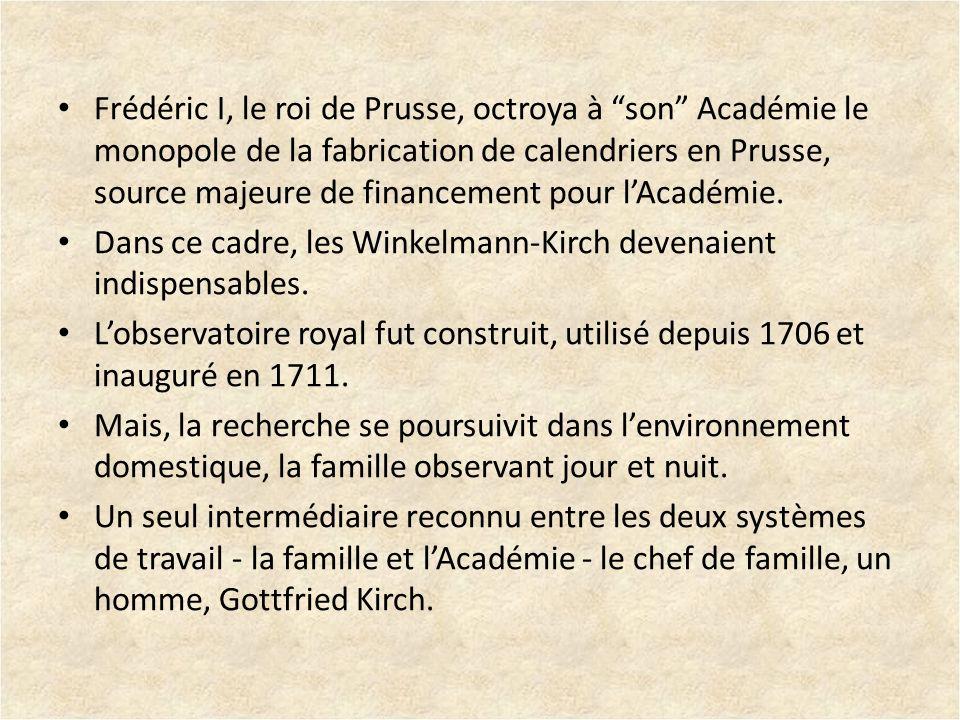 Frédéric I, le roi de Prusse, octroya à son Académie le monopole de la fabrication de calendriers en Prusse, source majeure de financement pour l'Académie.