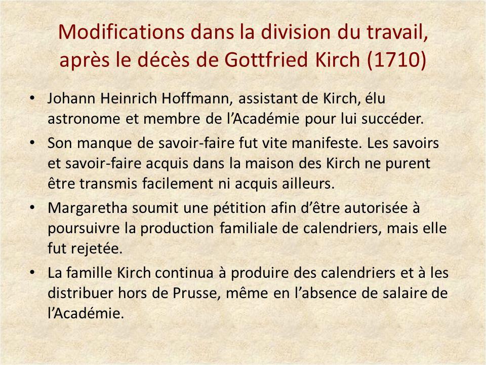 Modifications dans la division du travail, après le décès de Gottfried Kirch (1710)