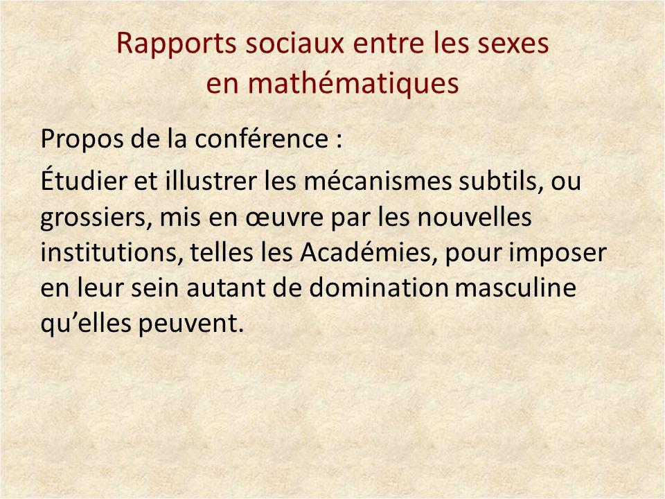 Rapports sociaux entre les sexes en mathématiques