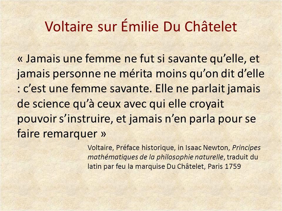Voltaire sur Émilie Du Châtelet