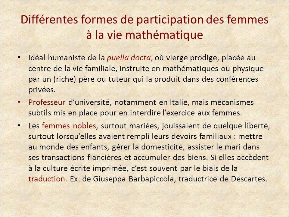 Différentes formes de participation des femmes à la vie mathématique