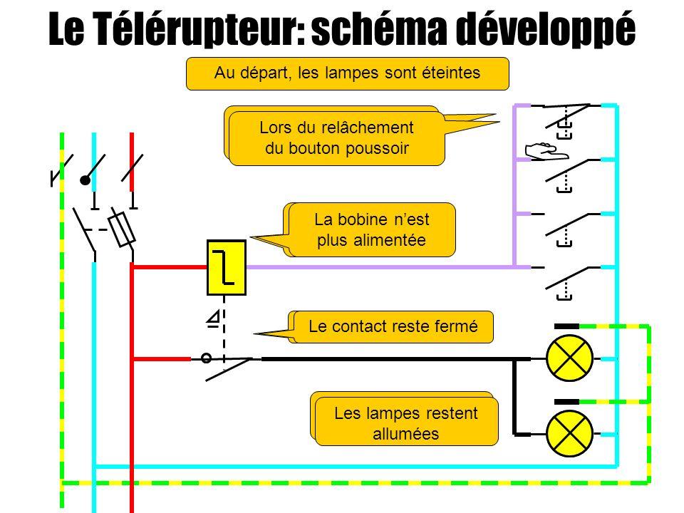  Le Télérupteur: schéma développé Au départ, les lampes sont éteintes