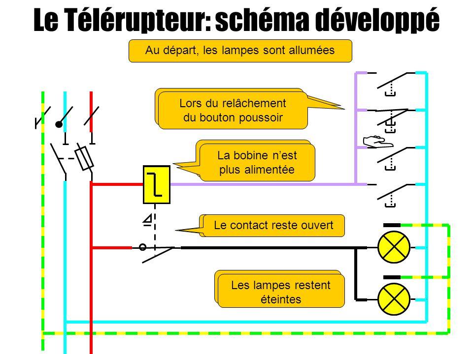  Le Télérupteur: schéma développé Au départ, les lampes sont allumées