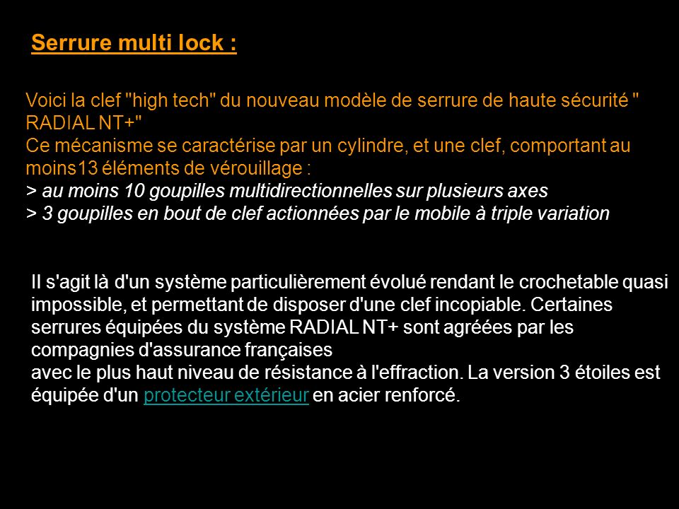 Serrure multi lock :