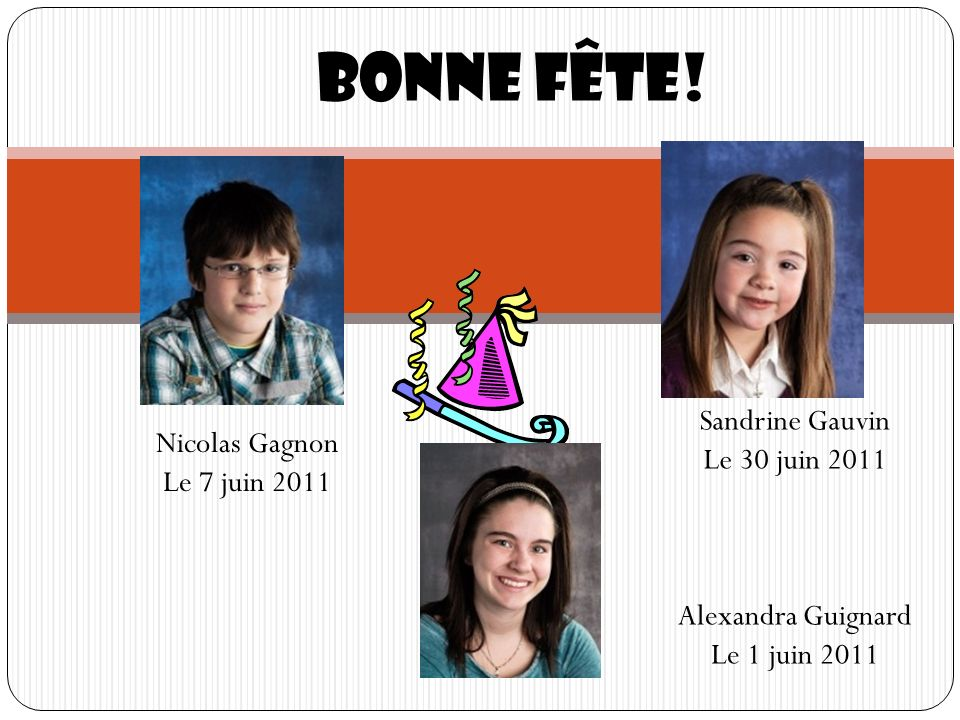 Bonne fête! Sandrine Gauvin Le 30 juin 2011 Nicolas Gagnon